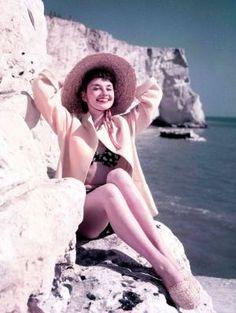 Audrey Hepburn Sunbathing