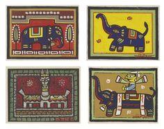 Jamini Roy - Untitled Madhubani Art, Madhubani Painting, Indian Folk Art, Indian Artist, Elephant Art, Elephant Drawings, Jamini Roy, Indian Drawing, Ganesha Drawing