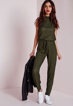 Missguided - Roll Neck Skinny Rib Jumpsuit Khaki