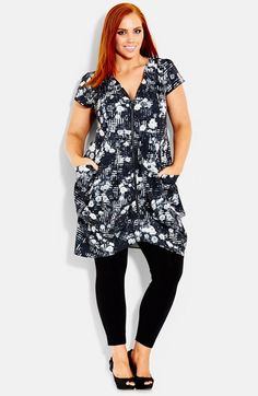 City Chic Print Front Zip Pleat Tunic