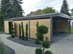 The modern carport ideas of the year, Keeping clean and dry vehicles throughout the year is only possible with a garage. But the modern alternative to garages is called Carport and has been trendy for years. Every year, numerous individua Design Garage, Carport Designs, Pergola Designs, Exterior Design, Landscaping Design, Outdoor Rooms, Outdoor Living, Outdoor Decor, Carport Garage