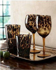 leopard highball & wine glasses