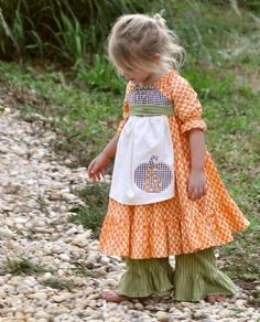 Pumpkin Peasant Twirl Dress & Ruffle Pants  ...soo would love this for Fall!