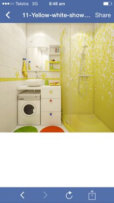 Colorful choices in the shower room/utility room distract the eye from its limited proportions (I would prefer a less colorful one). Small Apartment Design, Small Apartments, Apartment Layout, College Apartment Bathroom, Lava E Seca, Yellow Shower Curtains, Yellow Bathrooms, Laundry In Bathroom, Bathroom Small