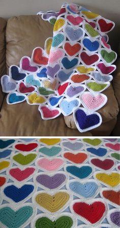 Hearts Crochet Blanket Tutorial