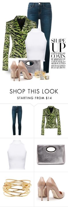 """""""Jeans & Blazer 3081"""" by boxthoughts ❤ liked on Polyvore featuring Frame, John Richmond, WearAll, Donald J Pliner, 14th & Union and Rupert Sanderson"""