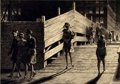 Martin Lewis - 5th Avenue Bridge. Etching.