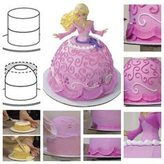 DIY Barbie Princess Cake for your little princess. <3<3  http://wonderfuldiy.com/wonderful-diy-barbie-princess-cake-decorating/