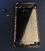 New iPhone 6 4.7″ 24K 24KT 24CT Limited Edition Mirror Metal Back Cover Housing Middle Frame Bezel Replacement Repair Part LOGO&Buttons&Engraved Words, Free Tools (Rose Gold/Black Stripe)