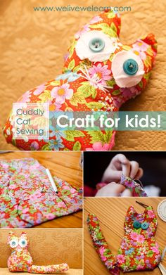 CRAFT FOR KIDS – FREE CUDDLY CAT TOY PATTERN – HOMEMADE