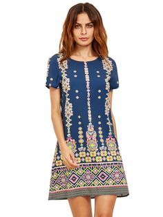 Buy it now. Pink In Blue Aztec Print Shift Dress. Blue Vintage Polyester Round Neck Short Sleeve A Line Short Print Fabric has no stretch Summer Dresses. , vestidoinformal, casual, camiseta, playeros, informales, túnica, estilocamiseta, camisola, vestidodealgodón, vestidosdealgodón, verano, informal, playa, playero, capa, capas, vestidobabydoll, camisole, túnica, shift, pleat, pleated, drape, t-shape, daisy, foldedshoulder, summer, loosefit, tunictop, swing, day, offtheshoulder, smock, pr...