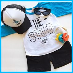 The Stud! #tee #handscreened #blue #truckerhat #anchor #nautical #wooden #toys #keys #sunglasses #shades #boys #clothes