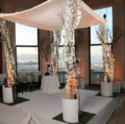 Modern chuppah with uplights - Jewish Wedding Coordinated by Tosca Productions at the James Leary Flood Mansion - SF, CA