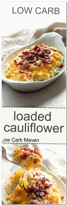 Low carb loaded cauliflower with sour cream, chives, cheddar cheese and bacon. K… Low carb loaded cauliflower with sour cream, chives, cheddar cheese and bacon. I would leave it in florets instead of pulverizing it in a food processor! Ketogenic Recipes, Low Carb Recipes, Diet Recipes, Cooking Recipes, Healthy Recipes, Diabetic Recipes, Recipes Dinner, Ketogenic Diet, Recipies