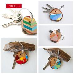Portachiavi / Colorful geo wood keychain handmade #diy