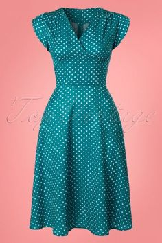 Tabby Polkadot Dress in Teal Vixen Tabby Polka Teal Dress 102 39 23214 20180228 Elegant Dresses, Cute Dresses, Vintage Dresses, Casual Dresses, Swing Rock, Dress Outfits, Fashion Outfits, Kurti Neck Designs, Latest African Fashion Dresses