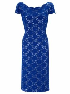 Royal Blue Corded Lace Dress With Scallop Neckline