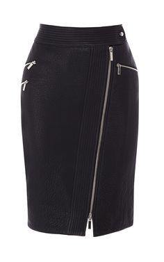Zip leather pencil skirt | Luxury Women's Urban | Karen Millen