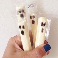 Ghost cheese sticks. Easy non-candy Halloween treat!