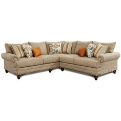 Fusion Hilary Oatmeal Chenille Sectional With Nailhead | Weekends Only  Furniture And Mattress · OatmealMattressOutlets