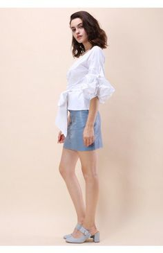 Enchanting Echo Wrapped Top in White - Tops - Retro, Indie and Unique Fashion