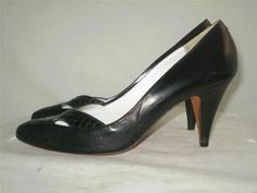 Vintage Andrew Gellar Pumps Black Leather Criss Cross Toe Accent Italy 8.5 AA A