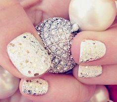 Gold Glitter Wedding Nail Idea