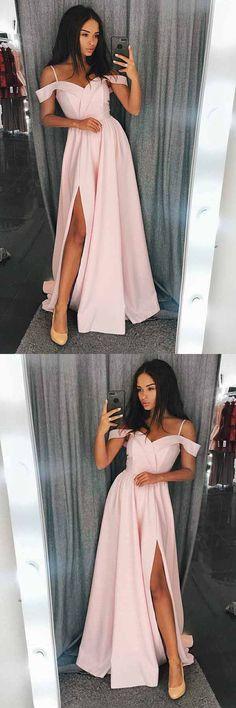 A-Line Cold Shoulder Red Satin Prom/Evening Dress with Split PG616 #promdress #eveningdress #dress #partydress #pgmdress #fashion #pink #aline #fashionista#fashiontrends