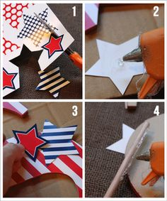 Cut out the page of (free download) star printables. Grab your smaller stars and glue them randomly to your patterned chipboard letters to add a little pizzazz. Next, hot glue a wooden dowel to the   backside of the chipboard letter making sure that you vary the heights of the wooden dowels for each letter. Anchor in a centerpiece!
