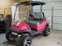 Hot Pink and Zebra Stripe golf cart. I want my golf cart to look like this