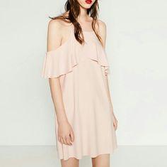 Light Pink Cutout Dress With Frill -- Zara Large
