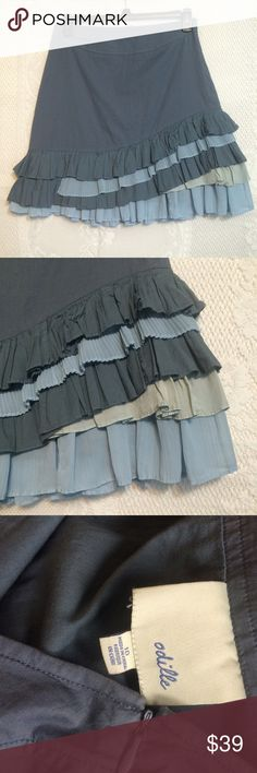 """Anthropologie Odille Rock Slide Skirt """"Cascading ruffles of shale and limestone unearth a vein of platinum beneath a fitted column of basalt.""""  By Odille.  Side zip.  Cotton/spandex, cotton lining.  Measurements laid flat:   Waist - 16"""".  Length - 20.5"""".  Like new! Anthropologie Skirts A-Line or Full"""