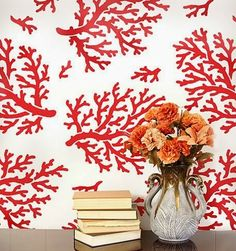 Wallpaper effect with stencils. DIY red coral wall.