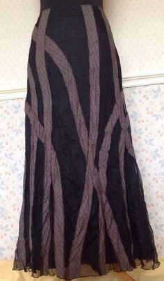 14L Black Net Lace Brown Tweed Ribbon Applique Long Skirt Gothic Steampunk LARP £31.00