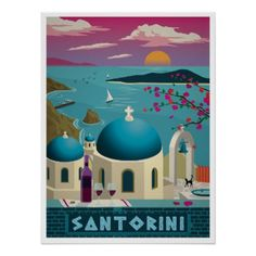 Santorini Greece Travel Poster - diy cyo customize create your own personalize