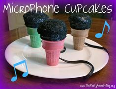 Microphone Cupcakes - perfect for a Princess and the Popstar birthday party!