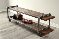 Custom Made Cast Iron Pipe Table Tv Stand
