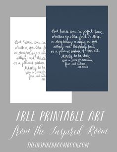 That House Was A Perfect House {Free Printable Artwork}
