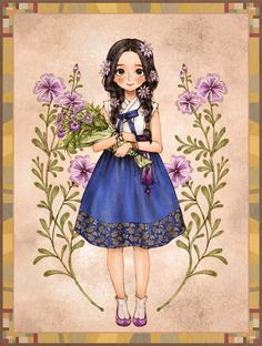 들꽃 한가득 품에 안아든, 한복을 입은 소녀. The girl in hanbok had her hands full of wild flowers.