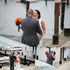 First look Annapolis Wedding Photographer Carla Lutz Photography Port Annapolis Red Navy Orange Maryland Crab Nautical Wedding