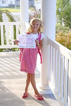 Document your kids' school years with a photo on the first day of school each year!  Make sure you add the date :)