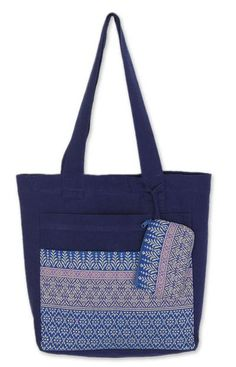 Novica Cotton tote handbag and change purse, Pastel Garden