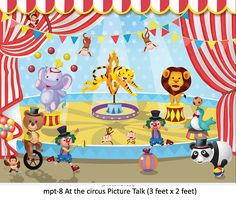 MyKidsArena manufactures and supplies high quality and detailed material for picture talk for various play school concepts like at the hospital, at the station etc. Drawing Pictures For Kids, Pictures To Draw, Play School Toys, Picture Story For Kids, Worksheets For Kids, Vocabulary Worksheets, School Wall Decoration, Circus Pictures, Writing Images