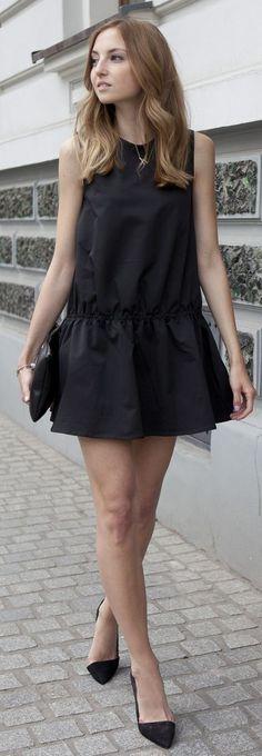 Jessica Buurman Black Mini Ruffle Hem Tank Dress by FashionMugging.com