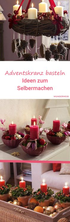 Adventskranz basteln: Ideen zum Selbermachen Make Advent wreath: With these beautiful ideas it's Make Your Own, Make It Yourself, Advent Wreath, Christmas Decorations, Table Decorations, Topiary, More Fun, Party Planning, Xmas