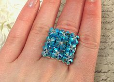 The Elizabeth Turquoise Swarovski Crystal Pillow Top Cocktail Stretch Ring by NiteDreamerDesigns