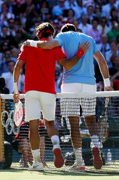 L-R) Roger Federer of Switzerland is congratulated by Juan Martin Del Potro of Argentina after his 4-6, 7-6, 19-17 win in the Semifinal of Men's Singles Tennis on Day 7 of the London 2012 Olympic Games at Wimbledon on August 3, 2012 in London, England.