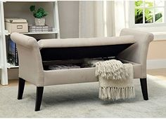 10. Stash toasty blankets in an upholstered storage bench at the end of your bed for some lazy decluttering.