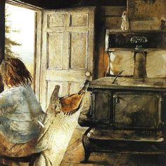 Andrew Newell Wyeth - The Wood Stove, Andrew Wyeth Paintings, Andrew Wyeth Art, Jamie Wyeth, Nc Wyeth, Beaux Arts Paris, American Artists, American Realism, Les Oeuvres, Retro