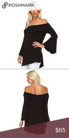 Off Shoulder Bell Sleeve Loose Tunic Top Black Retro, boho bell sleeve style with a perfectly on trend, chic off shoulder design. Pair with denim shorts, a floppy hat, and a wide belt for a put together, casual look or pair with slacks for a chic uptown vibe.   Available in black and heather grey.   ❌ Sorry, no trades.   fairlygirly fairlygirly Tops Tunics
